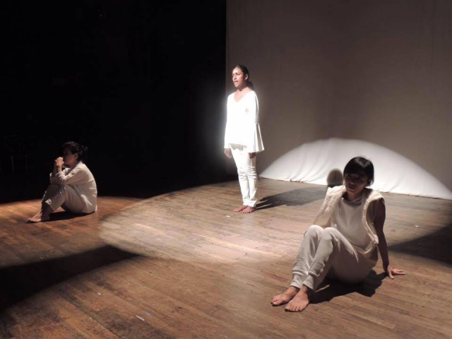 NEWS FROM FUKUSHIMA, written by Yuri Kageyama, at La MaMa. From left to right: Shigeko Suga, Monisha Shiva, Takemi Kitamura. Photo by Tennessee Reed.