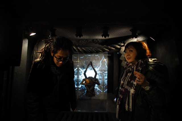 Yuri Kageyama and Hirokazu Suyama Jackson at The Container gallery in Tokyo for a poetry reading. January 2016.