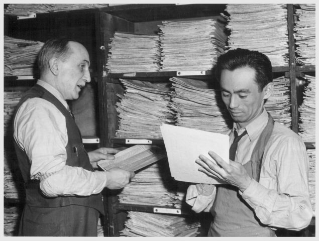 Joe Oyama in an Online California Archives photo, as he stands in the New York headquarters of the Common Council for American Unity. Joe was assistant editor of the Japanese American daily in Los Angeles before he was interned, in Santa Anita Assembly Center and Jerome Relocation Center, where both he and his wife Sami worked as journalists. After moving to New York in 1944, he was editor of the News Letter of the Japanese American Committee for Democracy. He and his wife were also both actors. They moved to Berkeley in their later years. I got to know him and Sami and their two children, who are also great artists. Joe was always supportive of my poetry: