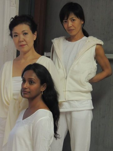 The performers in NEWS FROM FUKUSHIMA: From left to right: Shigeko Sara Suga, Monisha Shiva, Takemi Kitamura (photo by Tennessee Reed)